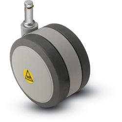 Swivel, non-magnetic,Twin-Wheel Caster with a Black/Grey finish and Grip Ring connector.