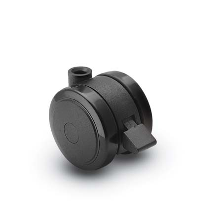 Black stemless Twin Wheel Caster with a brake.