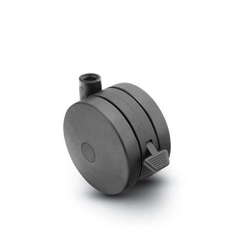 "Caster; Twin; Swivel; 3"" (75mm); Thermoplastized Rubber (Black); Stemless; Black; Rivet; 165#; Pedal Lock; Wheel (68060)"