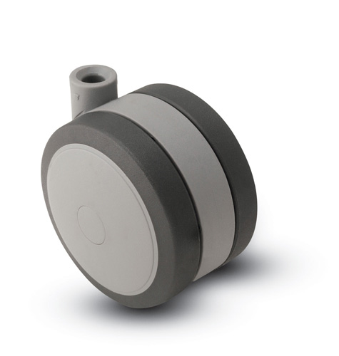 Swivel Twin-Wheel Caster with a Black/Grey finish and Stemless connector.