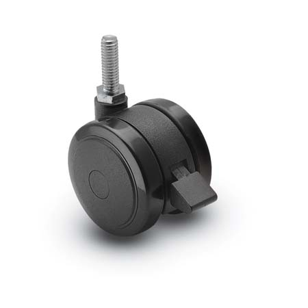 "Caster; Twin; Swivel; 2"" (50mm); Polyurethane; Threaded Stem; 5/16""-18TPI x 1""; Black; Rivet; 75#; Pedal Lock; Wheel (68677)"