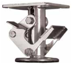 "Floor Lock; For 4"" Casters; 6"" extended; Top Plate; 4""x4-1/2""; hole spacing: 2-5/8x3-5/8 (slotted to 3x3); 3/8"" bolt; Zinc. Pedal Style (89994)"
