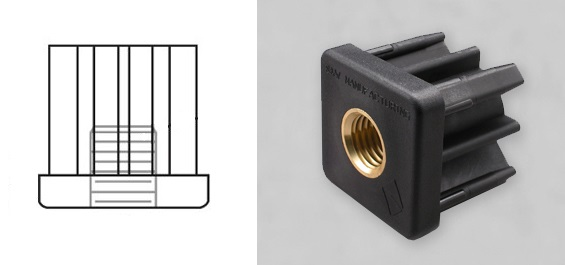 Square Socket with a brass insert for a Threaded Stem caster, glide or leveler.