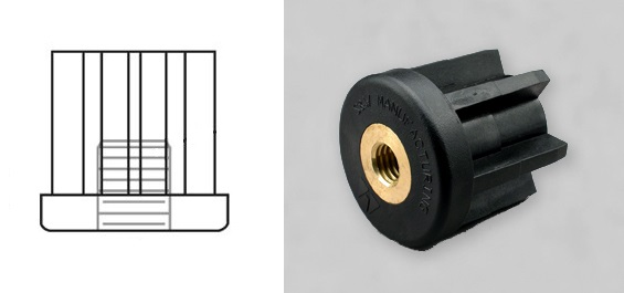 "Socket; 1-3/8"" OD (fits 1-1/2"" OD 16 ga Tubing); Glass/ Nylon; Brass Insert Threaded Stem Receiver; 1/2""-13TPI; Round (88246)"