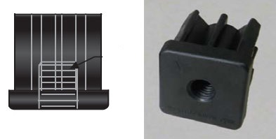 Square Black plastic Socket for a Threaded Stem caster, glide or leveler.