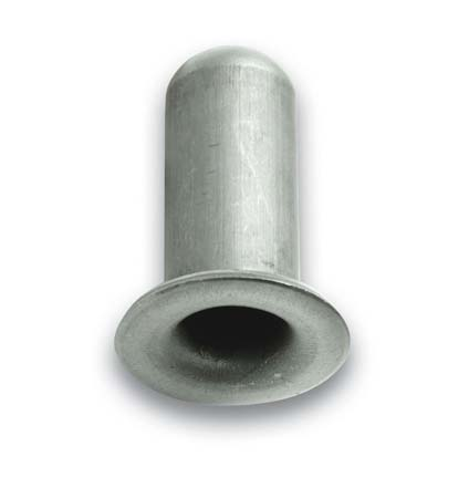 "Socket; Grip Ring: 0.59"" O.D. x .7/16"" I.D.; 15/16"" at flange; Metal; 3/4"" Round; .083"" wall; fits 7/16"" connectors up to 1-7/16"" long; for glue or weld-in (89300)"