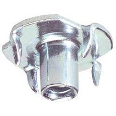 "Socket; 4 Prong T-nut for 1/4"" -20 Threaded Stems; requires 9/32"" diameter hole; 3/8"" long;  Metal/ Zinc; for wood application (88892)"
