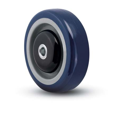 Blue Polyurethane on PolyO Wheel with a ball bearing.