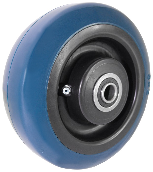 "Wheel; 8"" x 2""; PolyU on PolyO; Roller Brng; 3/4"" Bore; 2-7/16"" Hub Length; 900# (Tread color varies - call if important) (88827)"