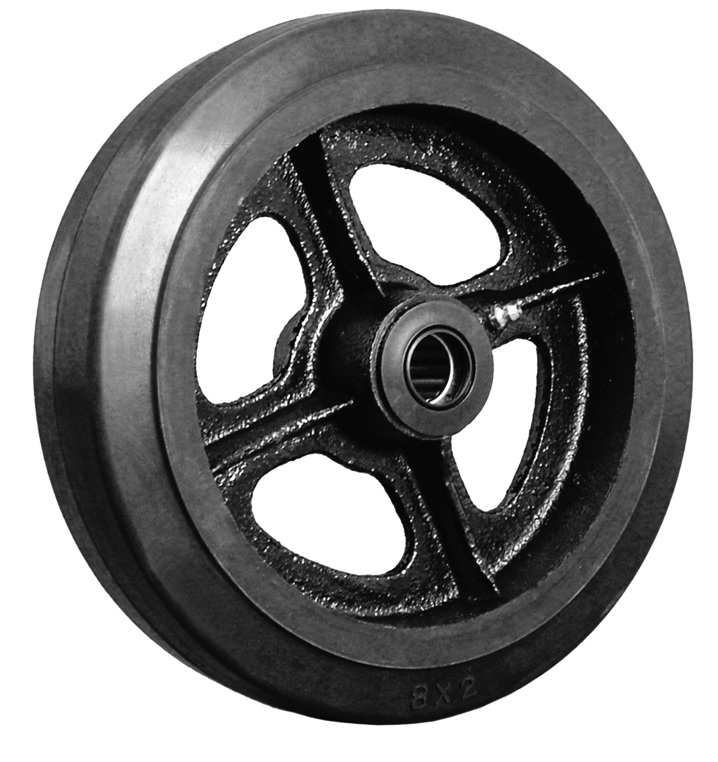 "Wheel; 12"" x 2-1/2""; Rubber on Cast Iron; Roller Brng; 900#; 1"" Bore; 2-3/4"" Hub Length (89796)"
