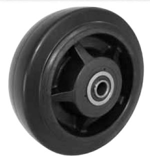 Black Rubber on a Nylon Hub with a Roller bearing