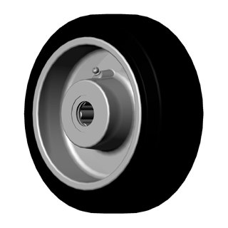 "Wheel; 12"" x 4""; Rubber on Cast Iron; Roller Brng; 1-1/4"" Bore; 4-1/4"" Hub Length; 1500# (89155)"