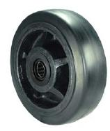 Black Rubber on Glass/Nylon Wheel with a roller bearing.