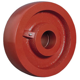 Red Steel Wheel with a plain bore.