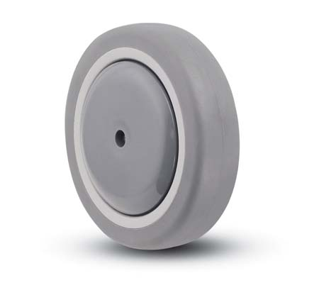 Gray, soft, Thermoplastic Rubber Wheel with a ball bearing and thread guards.
