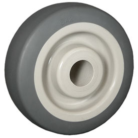 "Wheel; 5"" x 2""; Thermoplastized Rubber (Gray); Roller Brng; 350#; 1/2"" bore; 2-7/16"" Hub Length (89540)"