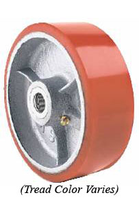 "Wheel; 6"" x 2""; PolyU on Cast Iron; Plain bore; 1200#; 1-3/16 Bore; 2-3/16 Hub Length (Color may vary - call if important) (89610)"
