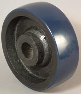 "Wheel; 8"" x 2""; EZ Rolling Crowned Heavy Duty PolyU on Cast (Blue); Roller Brng; 1500#; 1/2"" Bore; 2-7/16"" Hub Length (88575)"