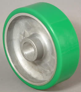 "Wheel; 6"" x 2""; PolyU on Alum; Roller Brng; 3/4"" Bore; 2-7/16"" Hub Length; 1200# (Color may vary. Call if critical). (88384)"