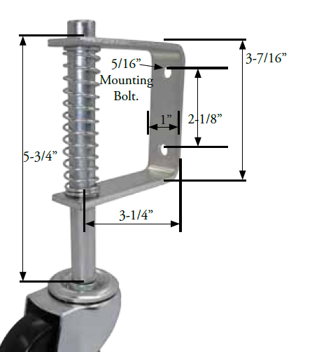 "Gate Caster Bracket (1""x3-7/16""; Holes 2-1/8"" apart); Accepts 7/16"" Grip Riing stem caster (max 4"" wheel); 30# to full spring deflection. 2"" spring movement. (88511)"