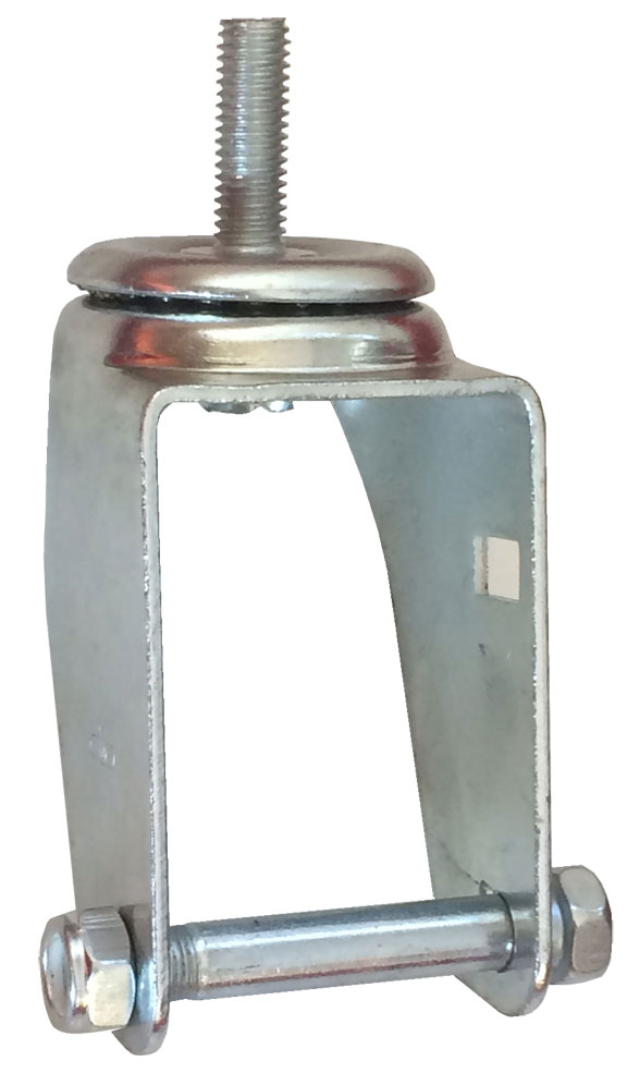 "Yoke, Axle & Nut; Swivel; 6"" x 2""; Threaded Stem (1/2""-13TPI x 1-1/2""); Zinc; 1/2"" Bore; Fork Spacing 2-1/2""; 375# (88621)"