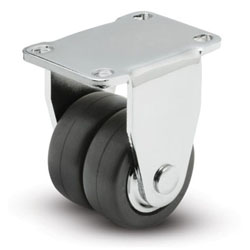Dual wheel swivel caster, with rubber wheels, precision bearings and top plate.