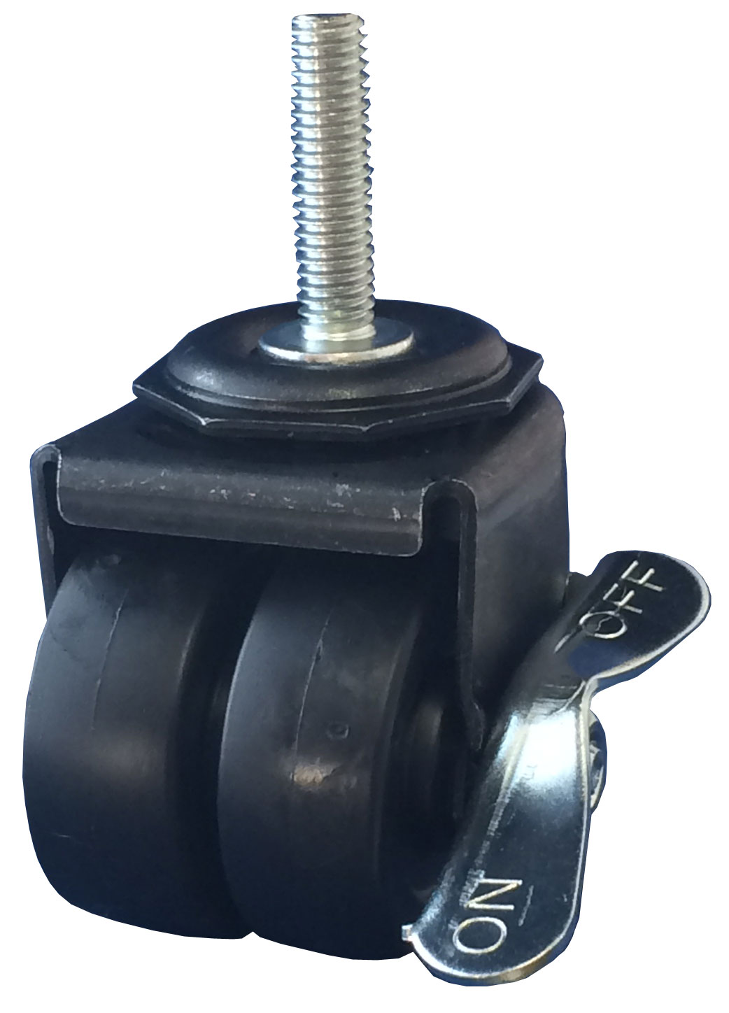 Swivel Dual Wheel Caster with black wheels, Black finish, and Threaded Stem connector and a Brake.