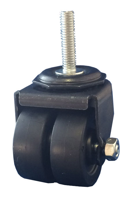 Swivel Dual Wheel Caster with black wheels, Black finish, and Threaded Stem connector.