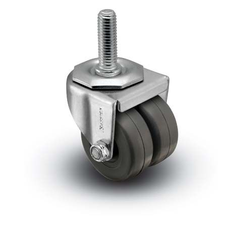 "Caster; Dual; Swivel; 2"" x 1-13/16""; Rubber; Soft; Threaded Stem; 1/2""-13TPI x 1""; Zinc; Plain bore; 180# (67588)"