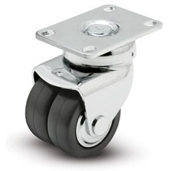"Caster; Dual Wheel; Swivel; 2-1/2"" x 1""; Glass/ Nylon; Plate (2-1/2""x3-5/8""); Chrome; Prec Ball Brng; 400# [DISCONTINUED - Limited qty available!!] (65159)"