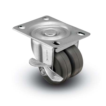 "Caster; Dual Wheel; Swivel; 2"" x 1-13/16""; Polyolefin; Plate (2-5/8""x3-3/4""; holes: 1-3/4""x2-3/4"" slotted to 3""; 5/16"" bolt); Zinc; Plain bore; 225#; Brake (66516)"
