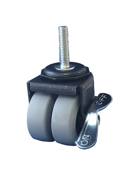 Swivel Dual Wheel Caster with Gray Thermoplastic Rubber wheels, Black finish, Threaded Stem connecto
