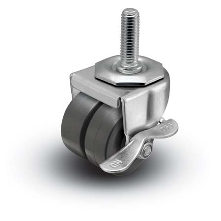 "Caster; Dual Wheel; Swivel; 2"" x 1-13/16""; Polyolefin; Threaded Stem (1/2""-13TPI x 1-1/2""); Zinc; Plain bore; 225#; Side friction brake (66508)"