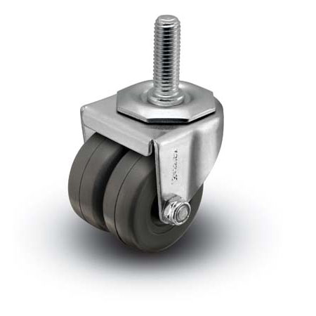 Caster; Dual Wheel; Swivel; 2 x 1-13/16; Polyolefin; Threaded Stem (1/2-13TPI x 1-1/2); Zinc; Plain bore; 225# (66509)