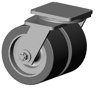 Extreme duty, swivel Dual Wheel Caster with PolyU on Steel wheels, Zinc finish, and Top Plate connec