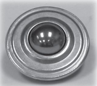 "Ball Transfer; Low Profile; 1"" Stainless Steel ball and Housing ; Round Drop-in Base (1-5/8""x5/8""); 125#; 5/8"" profile; Weep Hole(s) (88083)"