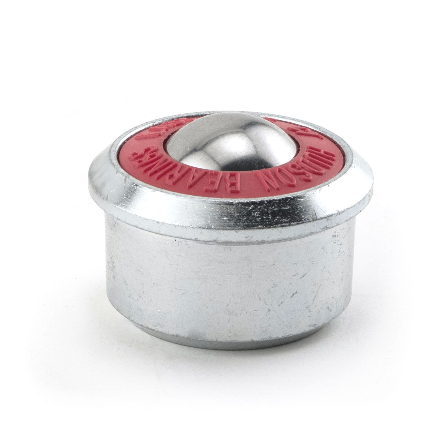 Heavy duty machined ball transfer with steel housing and main ball and red retainer ring.