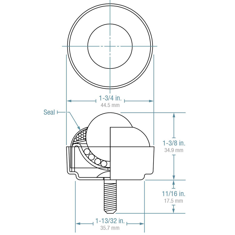 Ball Transfer; 1; Stainless Steel ball; Threaded Stud; 5/16-18TPI x 11/16; Stainless steel housing w/ zinc-plated cup and stud; 75#; 1-3/8 load height (89348)