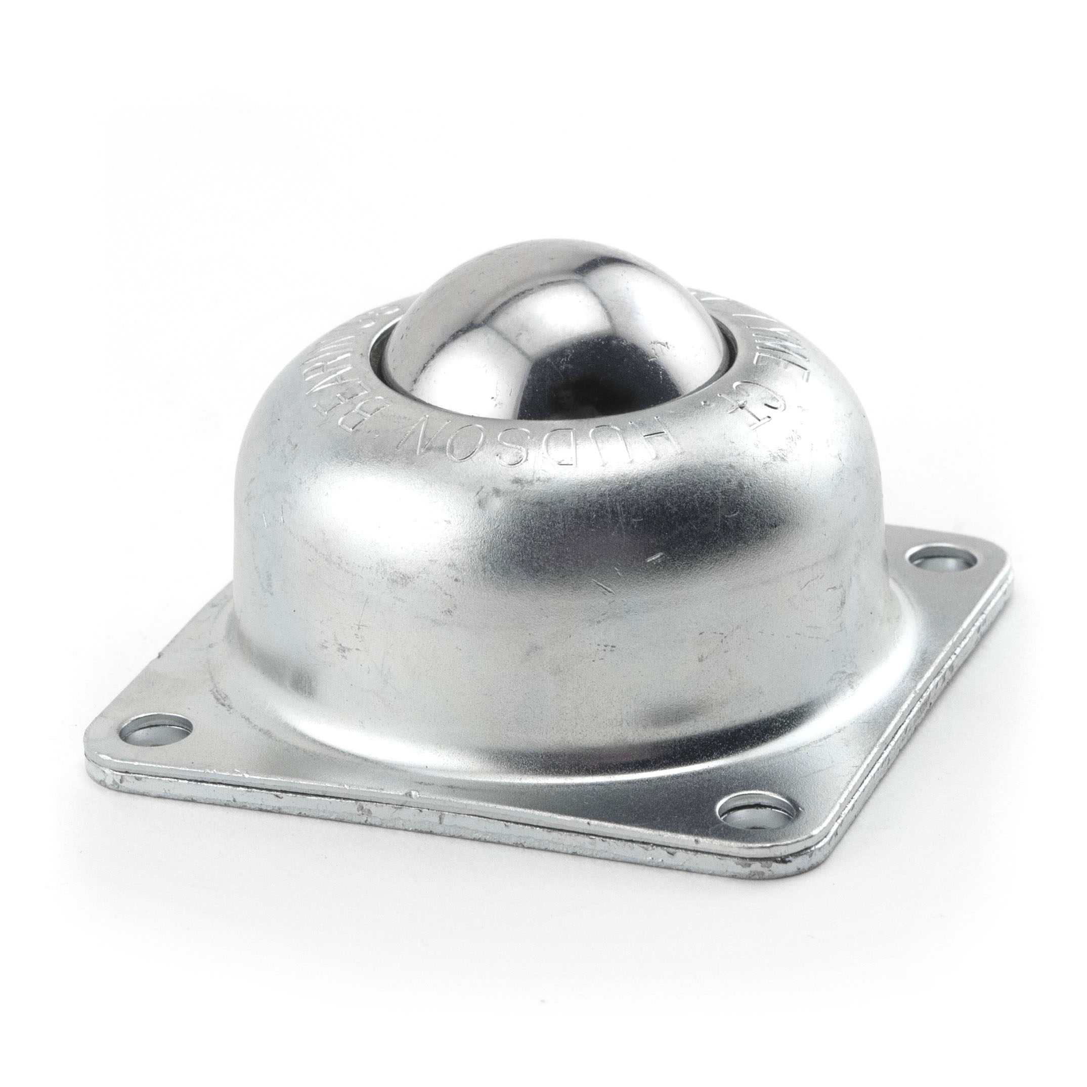 "Ball Transfer; 1-1/2""; carbon steel ball; carbon steel flange (3""x3""; holes: 2-7/16""x2-7/16""; 1/4"" bolt); 250#; 1-13/16"" load height (89367)"