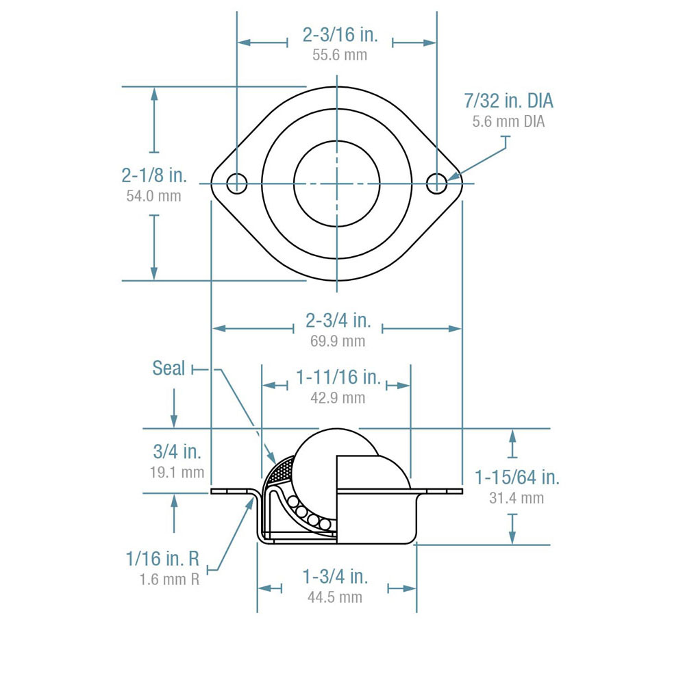 "Ball Transfer; Low Profile; 1"" Steel ball; Flange (2-1/8""x2-3/4"": two holes: 2-3/16"" apart); Steel housing; 75#; Low 3/4"" inch profile (88807)"