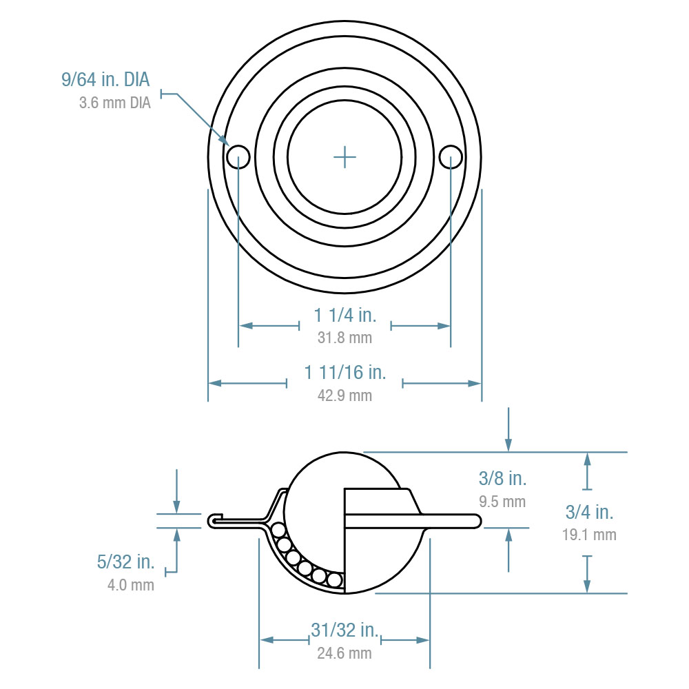"Ball Transfer; Low Profile; 5/8"" Stainless Steel ball; Flange (1-11/16"" diameter; two 1/8"" holes: 1-1/4"" apart); Carbon Steel flange; 20#; 3/8"" profile (88816)"