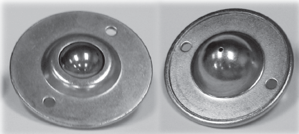 "Ball Transfer; 1""; Steel Ball; Flange; Round (2-7/8"" diameter: two holes: 2-3/16"" inch apart); Carbon Steel housing; 75#; Load height: 5/8""; Recessed depth 5/8"" (88161)"