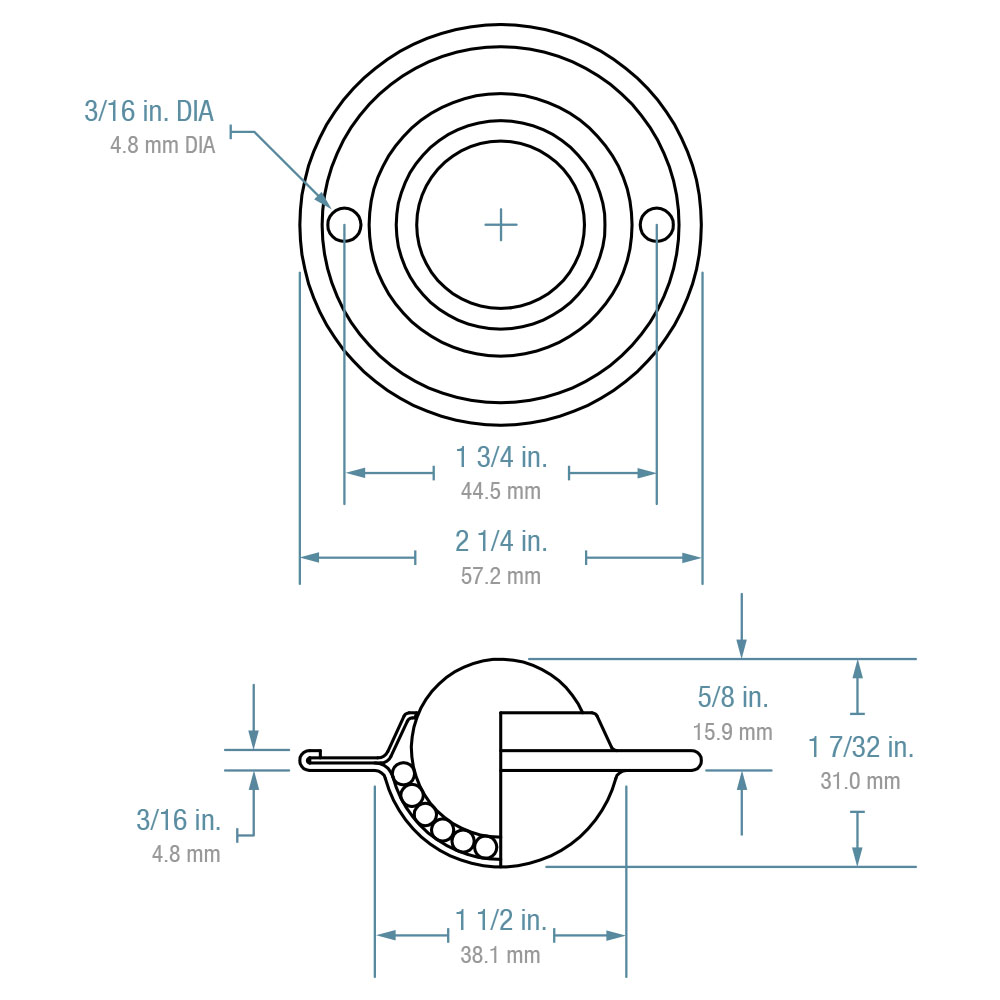 "Ball Transfer; 1""; Nylon Ball; Flange; Round (2-1/4"" diameter: two holes: 1-3/4"" apart); Carbon Steel housing; 75#; Load height: 5/8""; Recessed depth 5/8"" (88854)"