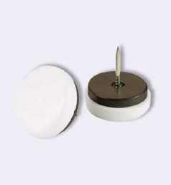 Nail-on furniture glide with floor-protective plastic base and rubber cushion.