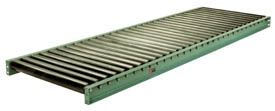 Conveyor; Gravity Roller; 120x13 (B/F); 16 O/F; Steel; Green; 2-1/2 Rollers on 3 Center; Ball Brng; Set high 1/4 clearance; 7500# on 5ft supports (89410)