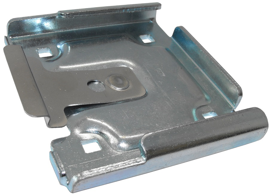 "Caster Quick Change Pad; 4-1/2"" x 4-15/16""; Steel; Fits 3-3/4 x 4-3/8"" caster plates; Zinc Plated; Snap-in style.  Bolt-on hole placement may vary. (89285)"