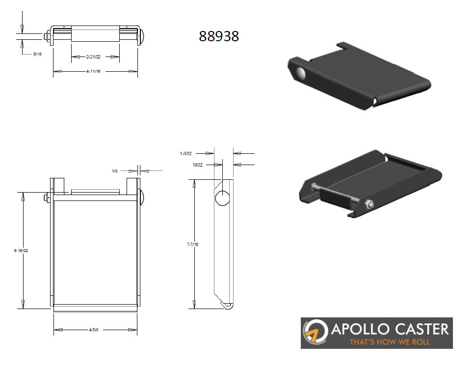 "Caster Quick Change Plate; weld-on style with caster retaining bolt; Steel; for Top Plate 4-1/2""x6-1/4""; Unplated (88838)"