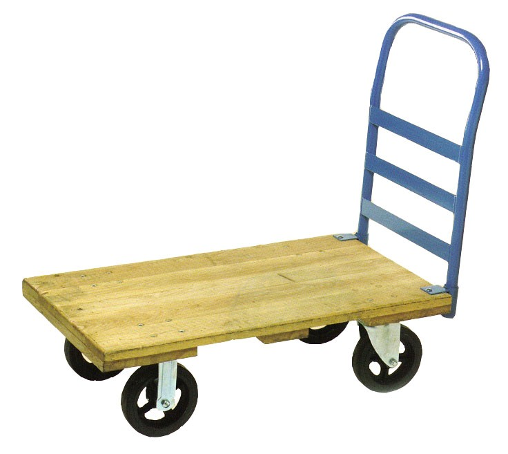 "Platform Truck; 22"" x 40""; 8""x2"" Swivel and Rigid Rubber-on-Iron Casters; Wood Deck; 2000#; Removable metal end rack (single) (64907)"