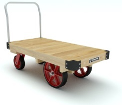 Platform Truck with a wooden deck, metal end handle, red wheels and casters.