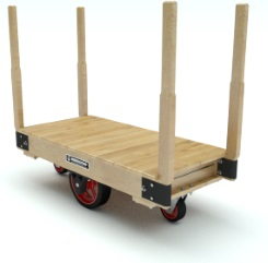 Platform truck with a wooden deck, removable wooden end posts, and red steel wheels and casters.